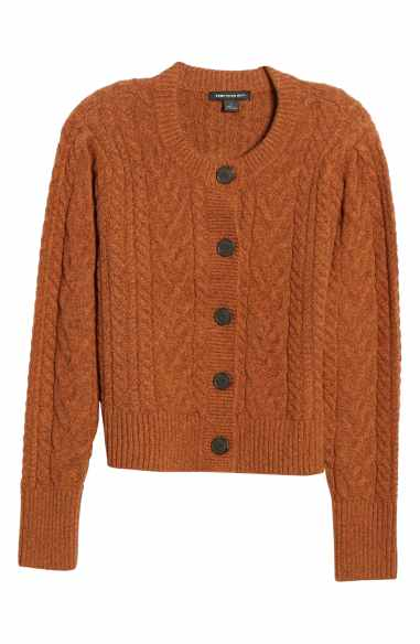 orange crewneck cable knit cardigan