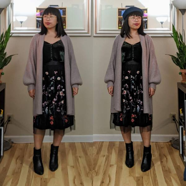 embroidered tulle skirt long cardigan beret ankle boots.jpg