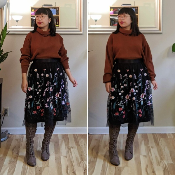 embroidered tulle skirt turtleneck sweater alt