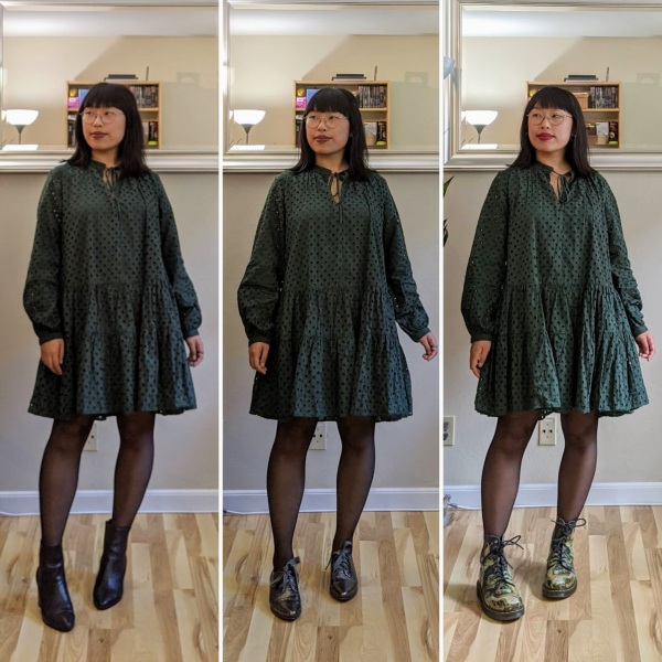 green smock dress comparison 1