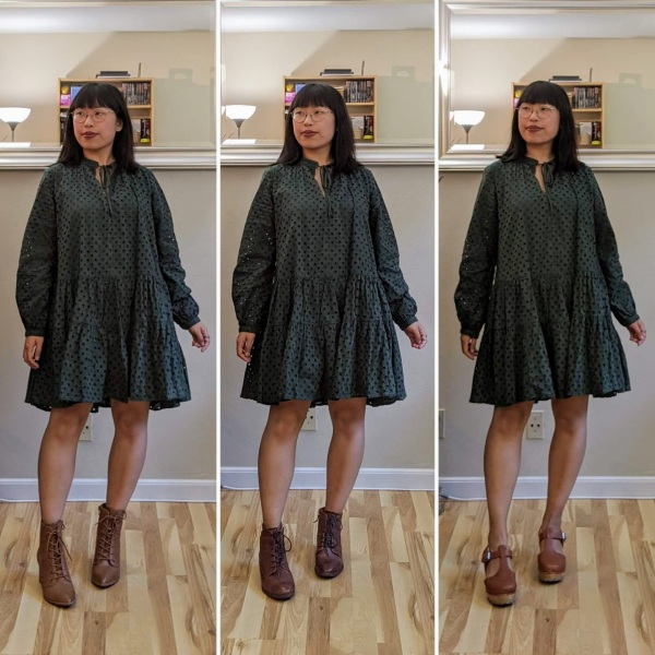 green smock dress comparison 2