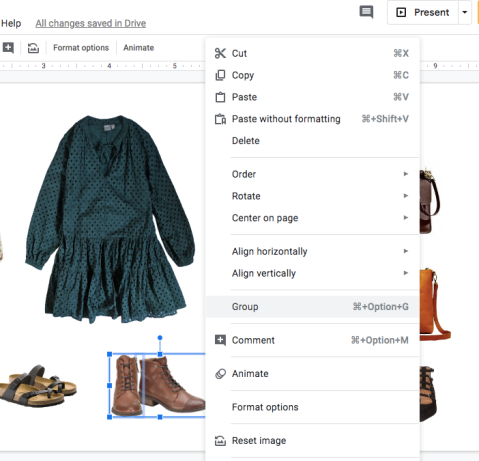 google slides group items
