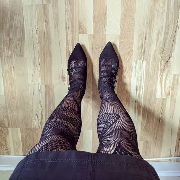 snake tights and pointy flats