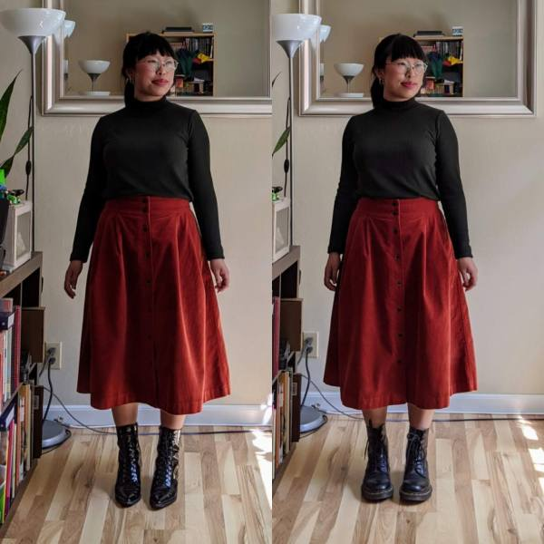 midi skirts pointy boots vs combat boots