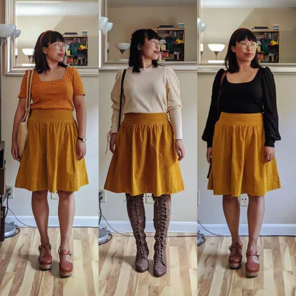 yellow field skirt outfits front